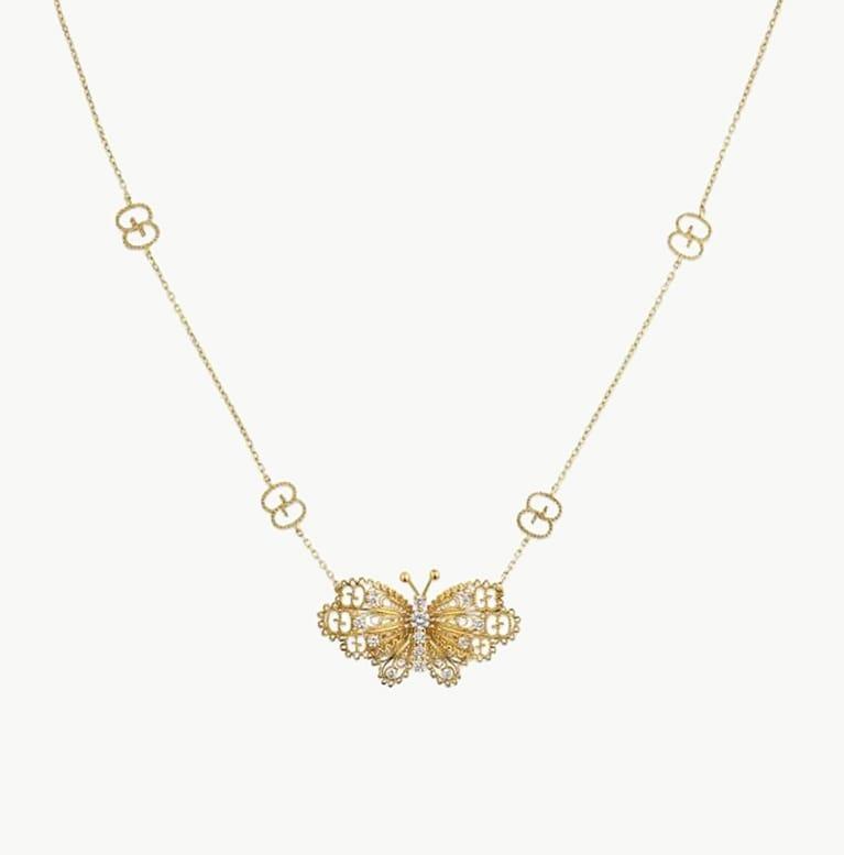 18k Yellow Gold Butteryfly Diamond Necklace