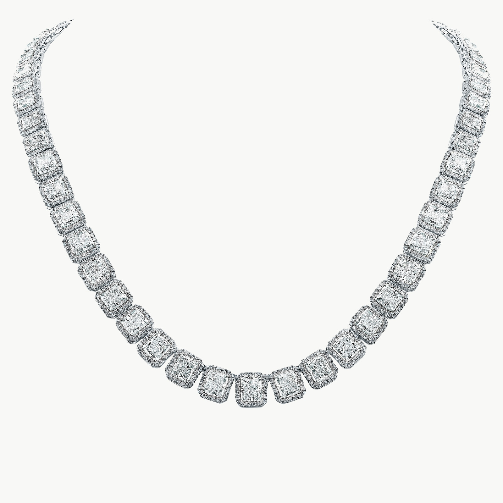 18KW 35.90ctw Diamond Cushion Halo Link Necklace