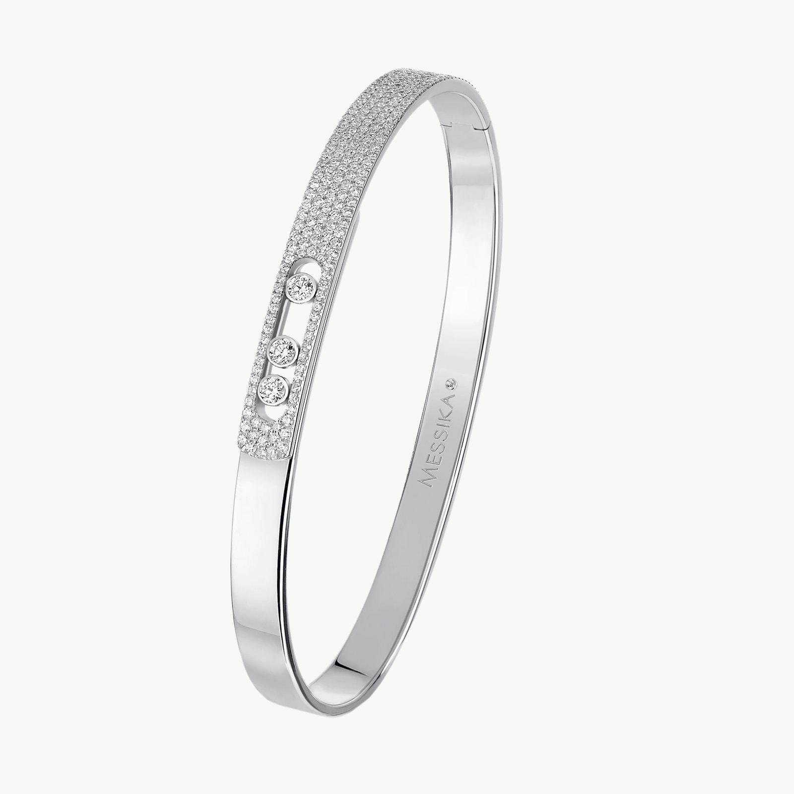 18k White Gold Move Noa Diamond Pave Bangle