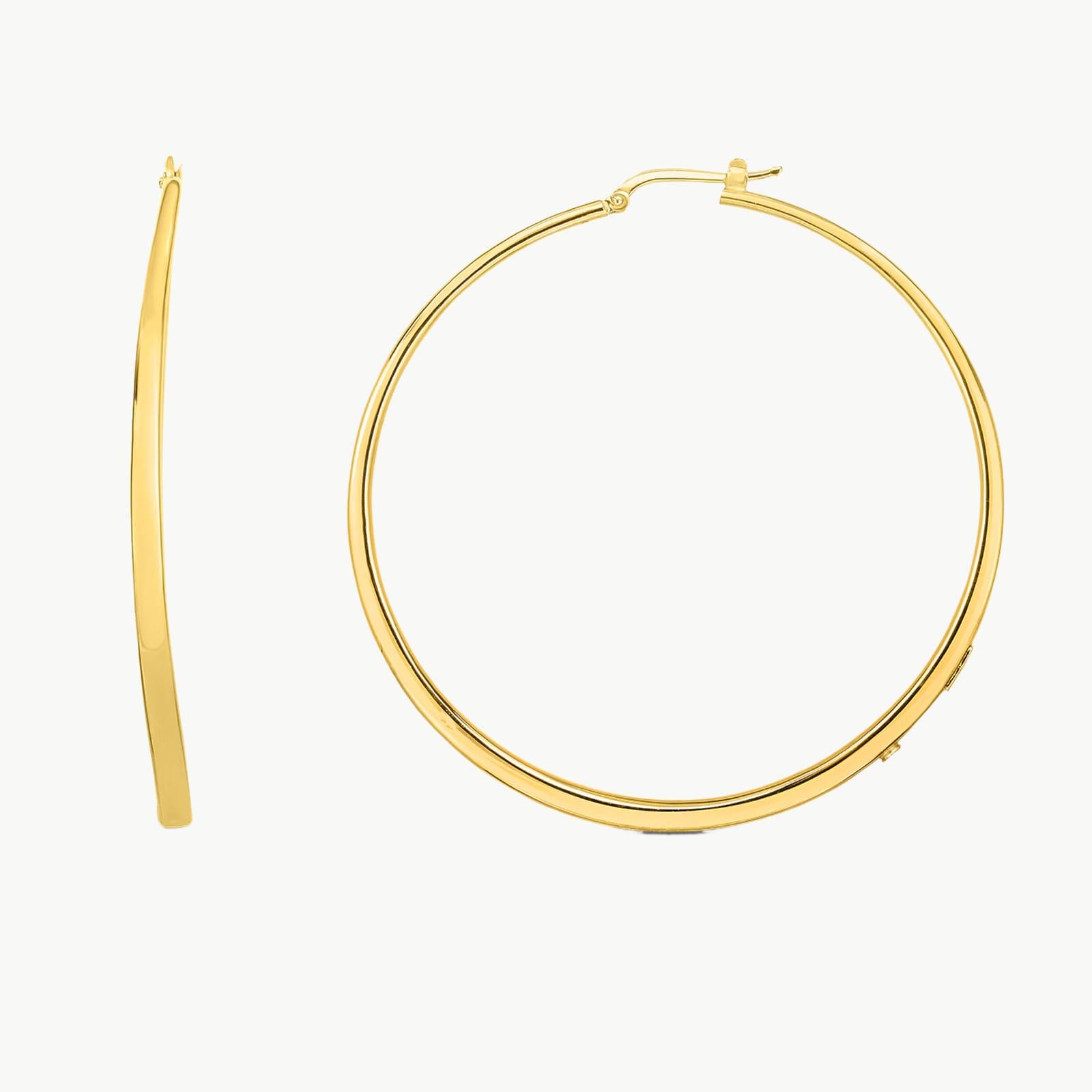 18k Yellow Gold 60mm Hoop Earrings