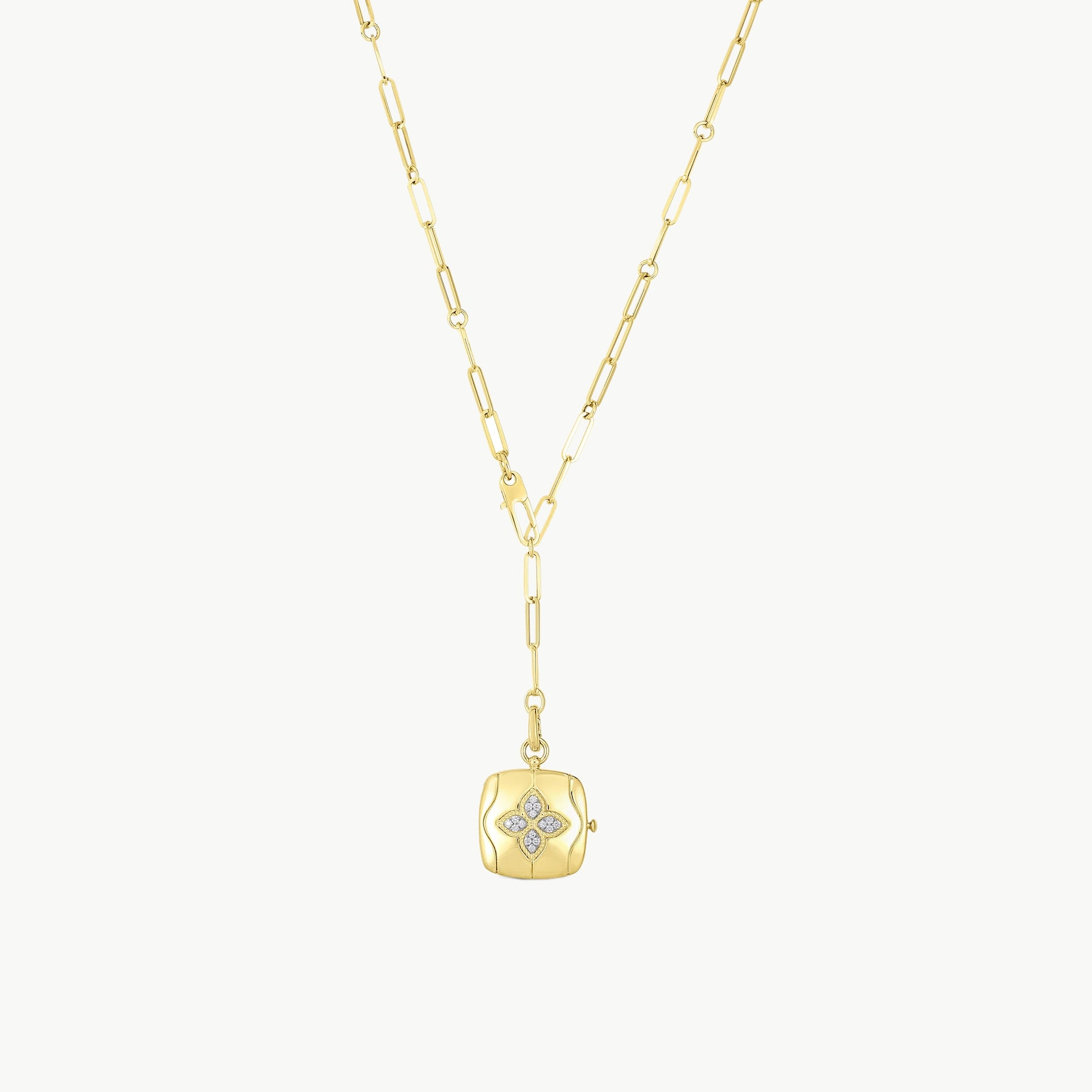 18k Yellow Gold 0.18cttw Diamond Medallion Necklace