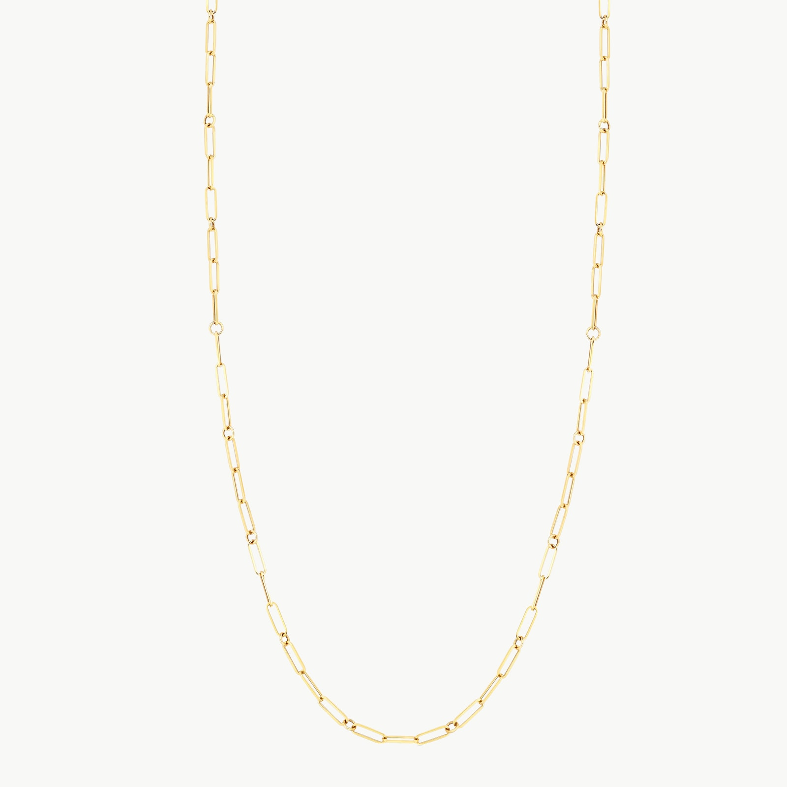 18k Yellow Gold Fine Paperclip Chain 34 Inch