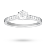 Goldsmiths Brilliant Cut 0.42 Total Carat Weight Solitaire And Diamond Set Shoulders Ring Set In 18 Carat White Gold