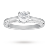 Goldsmiths Brilliant Cut 0.53 Carat Solitaire Diamond Ring Set In 18 Carat White Gold