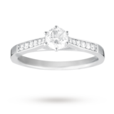 Goldsmiths Brilliant Cut 0.42 Total Carat Weight Solitaire And Diamond Set Shoulders Ring Set In Platinum