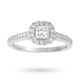 Goldsmiths Princess Cut 0.65 Total Carat Weight Diamond Halo Ring With Diamond Set Shoulders In 18 Carat White Gold