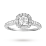 Goldsmiths Brilliant Cut 1.00 Total Carat Weight Diamond Halo Ring With Diamond Set Shoulders In 18 Carat White Gold