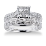 Goldsmiths Princess And Brilliant Cut 0.76 Carat Total Weight Diamond Bridal Set In 9 Carat White Gold