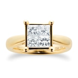 Goldsmiths Princess Cut 1.00 Carat Total Weight Invisible Set Diamond Ring Set In 18 Carat Yellow Gold
