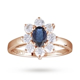 Goldsmiths Sapphire And Diamond Cluster Ring In 18 Carat Rose Gold