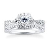 Goldsmiths 9ct White Gold Diamond Halo Bridal Set