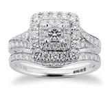 Goldsmiths 18ct White Gold Princess Cut 1.00cttw Diamond Bridal Set
