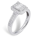 Goldsmiths 18ct White Gold 0.75cttw Diamond Mixed Cut Cluster Ring