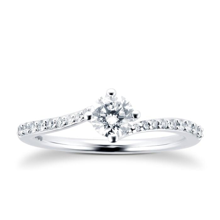 Goldsmiths 9ct White Gold 0.50cttw Diamond Twist Ring - Ring Size L