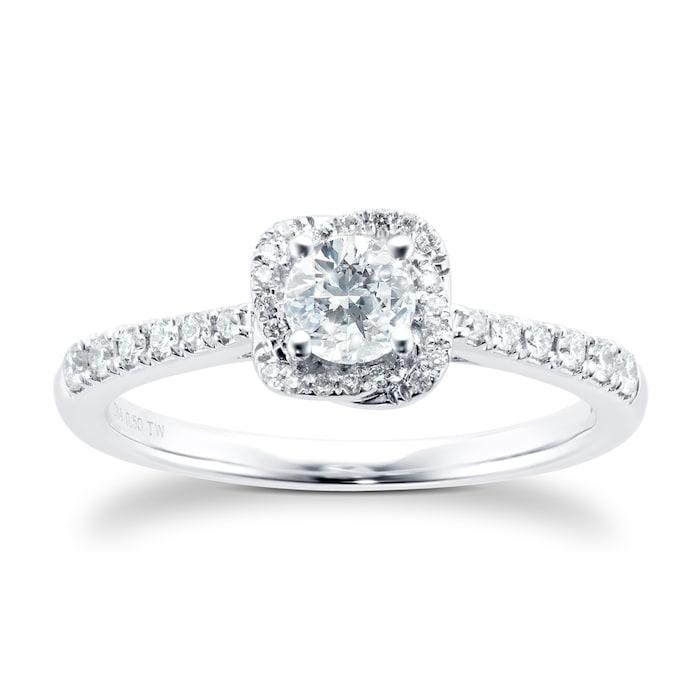 Goldsmiths 9ct White Gold 0.75cttw Diamond Flower Halo Ring - Ring Size K