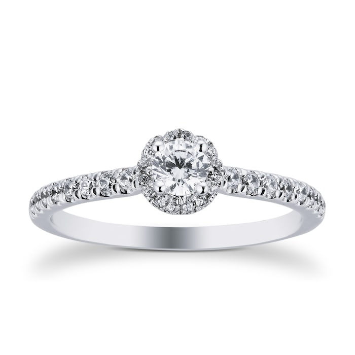 Goldsmiths 9ct White Gold 0.40cttw Diamond Flower Halo Ring - Ring Size M