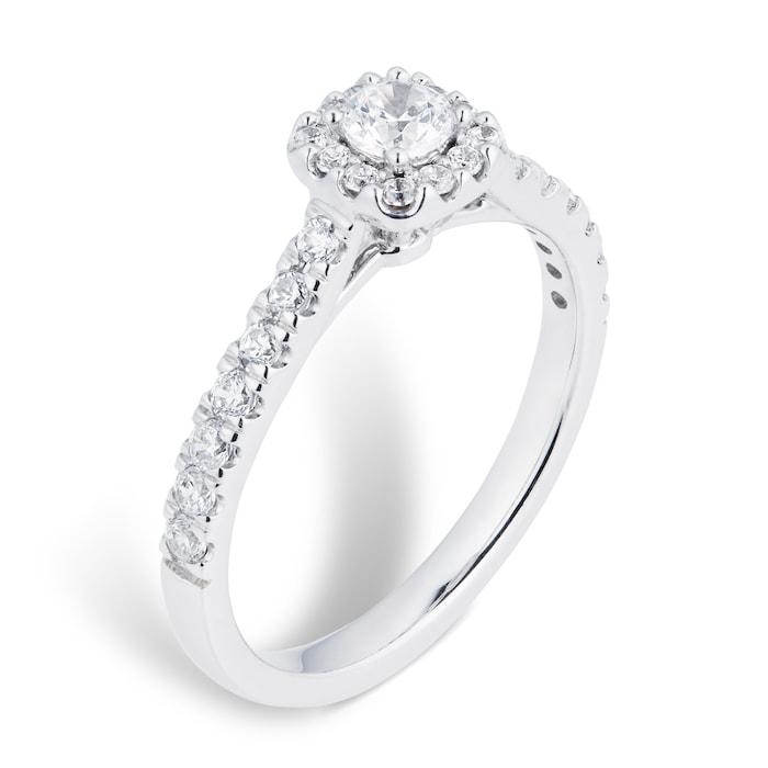 Goldsmiths 18ct White Gold 0.60cttw Diamond Halo Engagement Ring