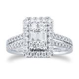Goldsmiths Platinum 0.75cttw Mixed Cluster Diamond Ring