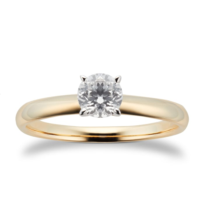 Goldsmiths 18ct Yellow Gold 0.46ct Diamond Solitaire Ring