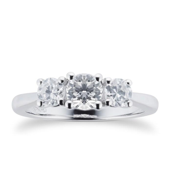 Goldsmiths Platinum 0.75cttw Three Stone Brilliant Cut Diamond Ring - Ring Size M