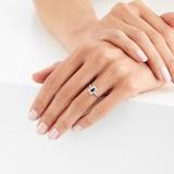 Goldsmiths 9ct White Gold Sapphire Emerald Cut Halo Ring