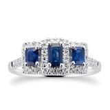 Goldsmiths Sapphire and Diamond Three Stone Ring in 9ct White Gold