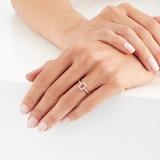 Goldsmiths 9ct Yellow Gold Ruby Emerald Cut Halo Ring