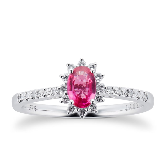 Goldsmiths Ruby and 0.12ct Diamond Ring in 9ct White Gold - Ring Size M