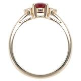 Goldsmiths 9ct Yellow Gold Ruby & Diamond 3 Stone Ring