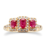 Goldsmiths Ruby and Diamond Three Stone Ring in 9ct Yellow Gold - Ring Size M
