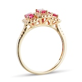 Goldsmiths Ruby and Diamond Three Stone Ring in 9ct Yellow Gold
