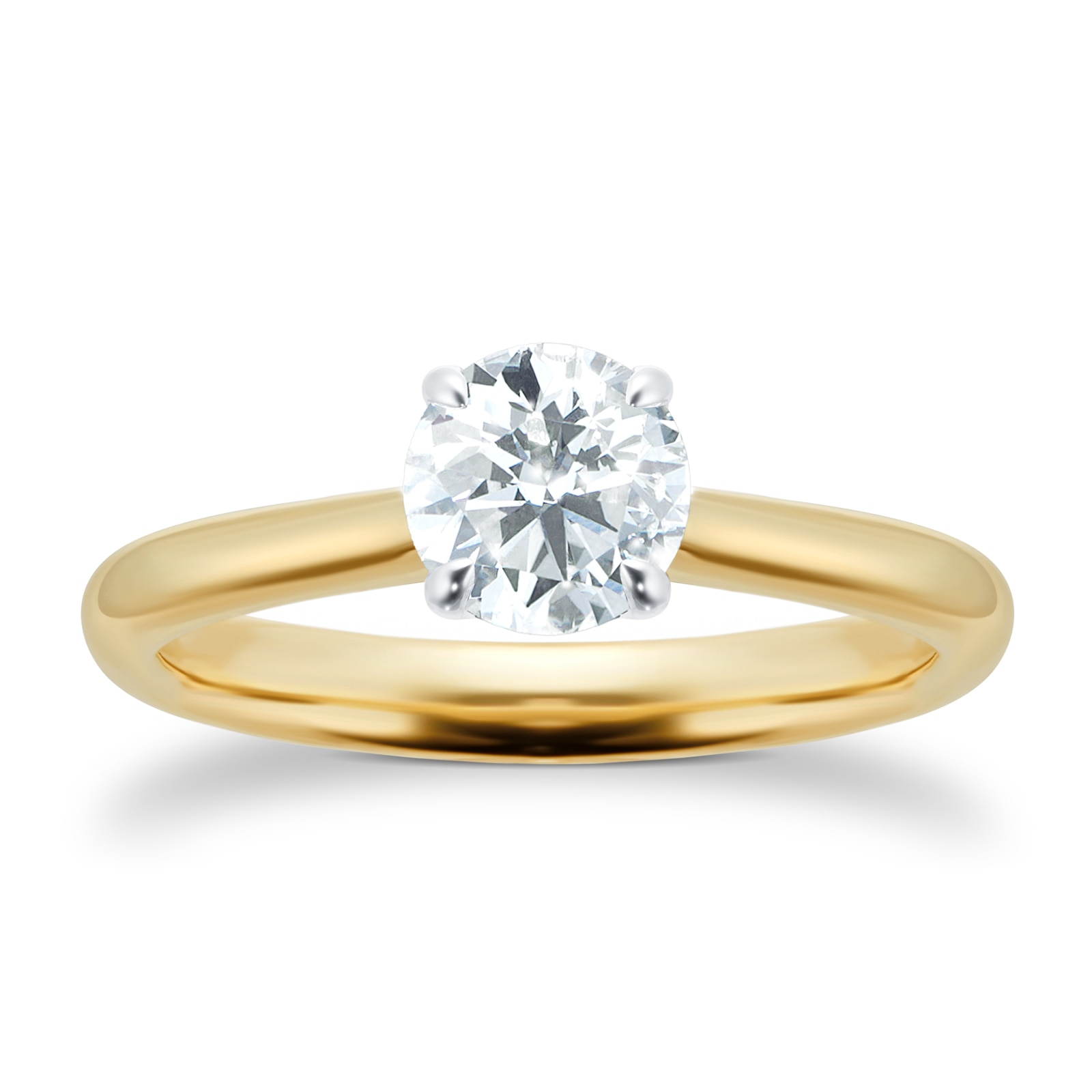 Mayors 18ct Yellow Gold 1.00ct Round Engagement Ring (H/SI1)