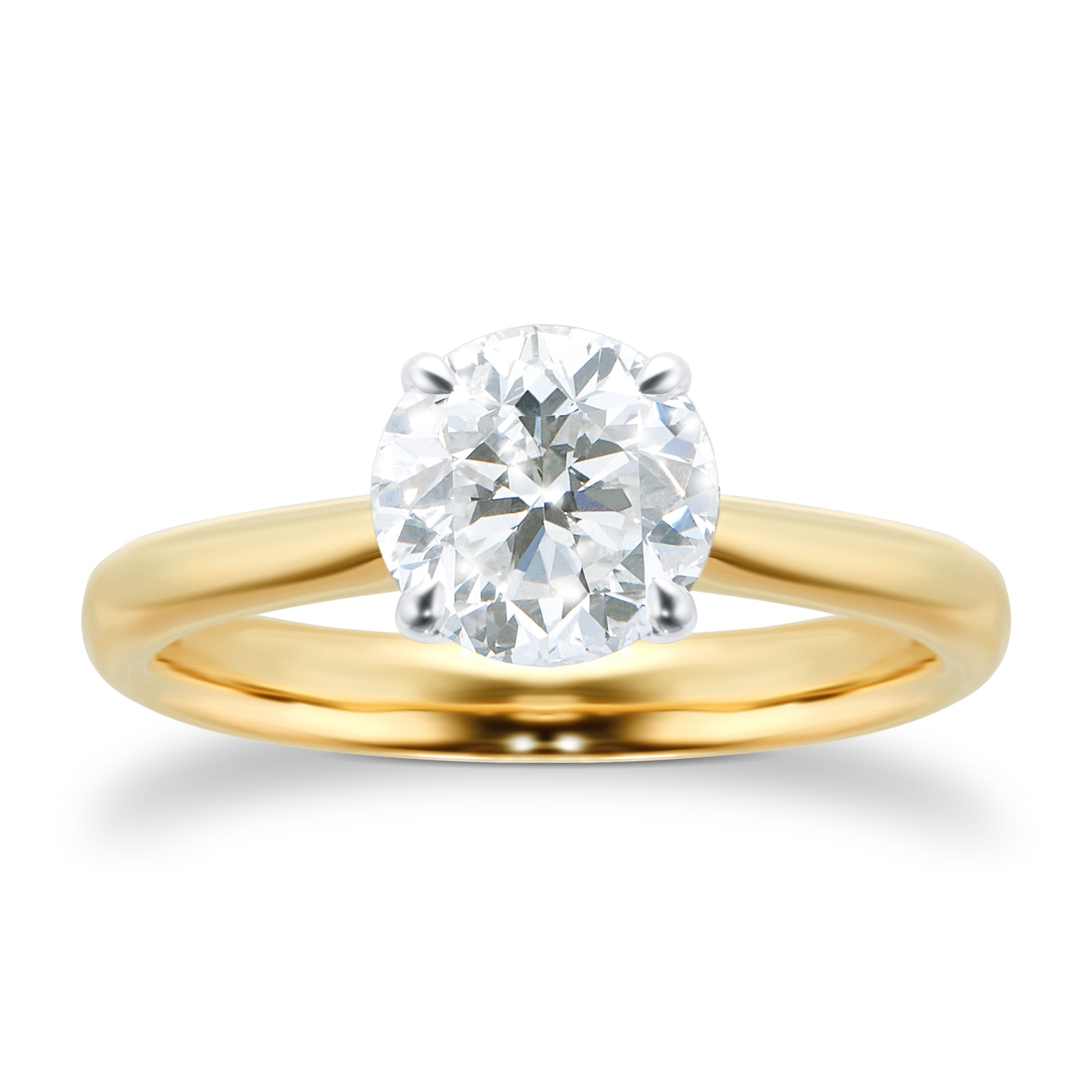 Mayors 18ct Yellow Gold 1.50ct Round Engagement Ring (H/SI1)