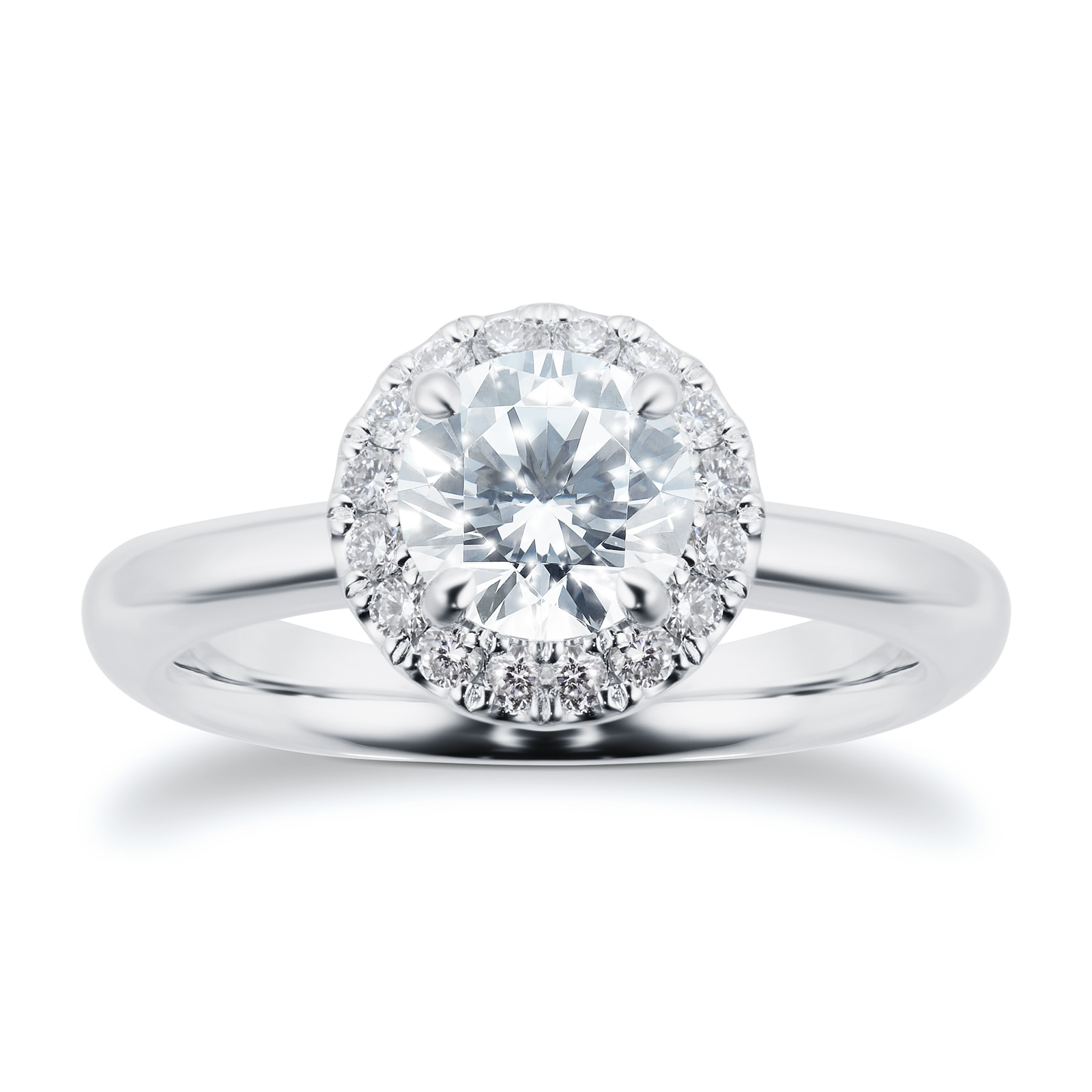 Mayors Platinum 1.05ct Round Halo Engagement Ring (H/SI1)
