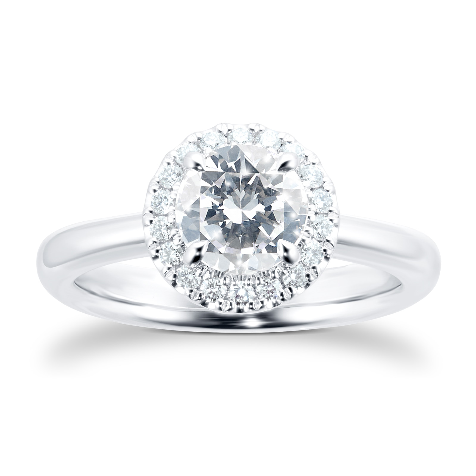Mayors Platinum 1.45ct Round Halo Engagement Ring (H/SI1)
