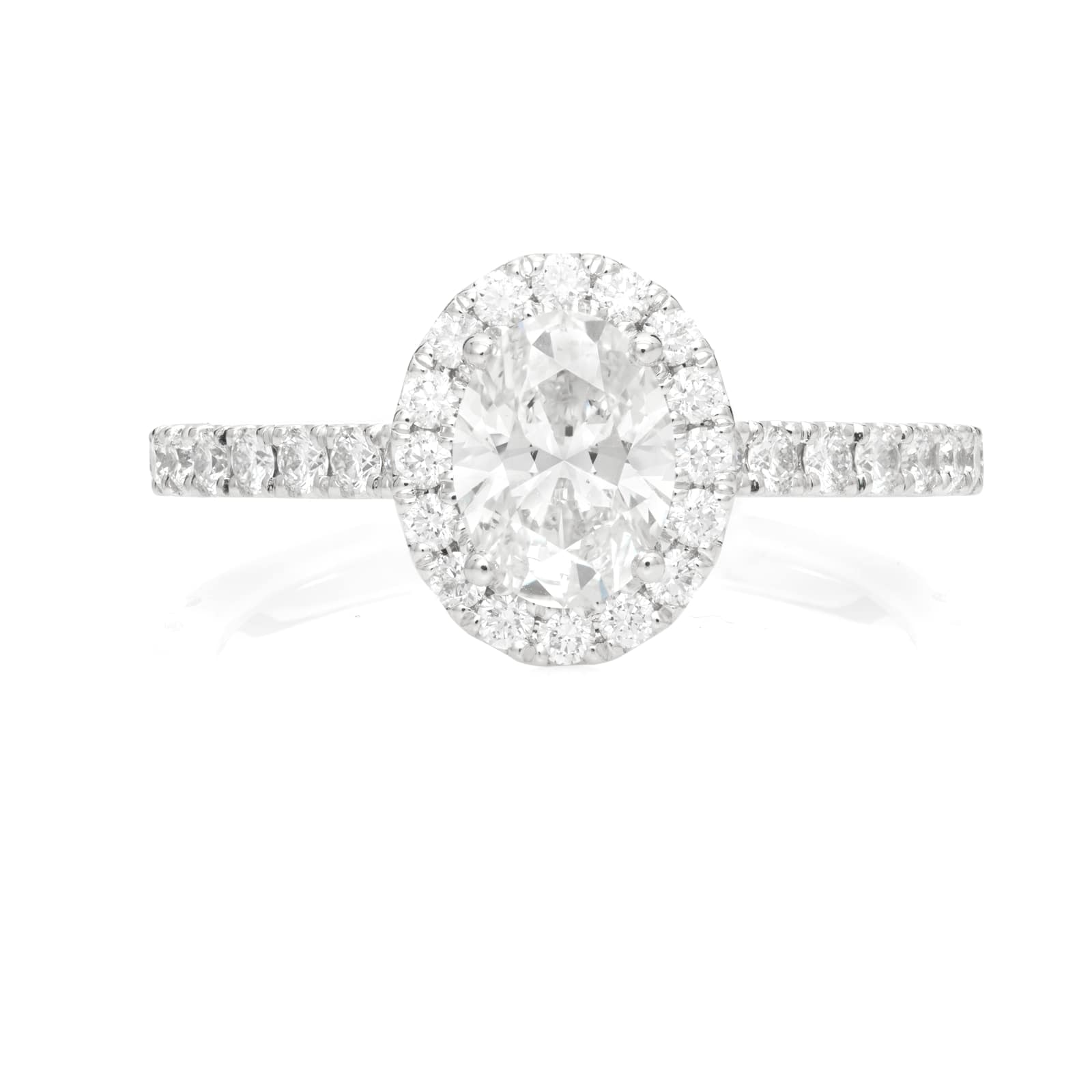 Mayors Platinum 1.66ct Oval Halo Engagement Ring (H/SI1)