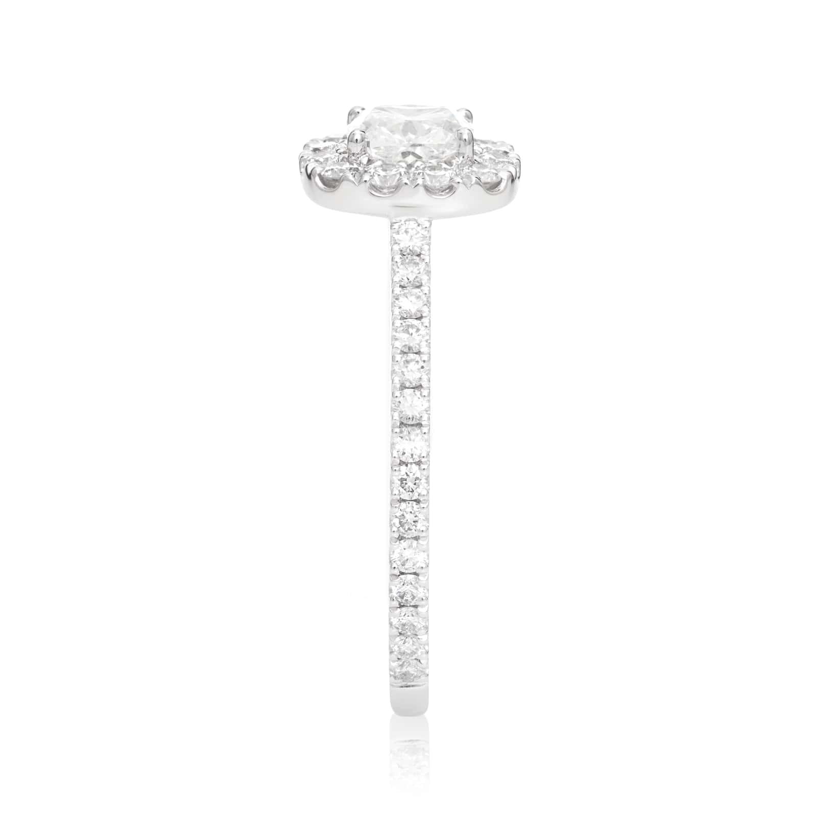 Mayors Platinum 0.80cttw Cushion Halo Engagement Ring (G/SI1)