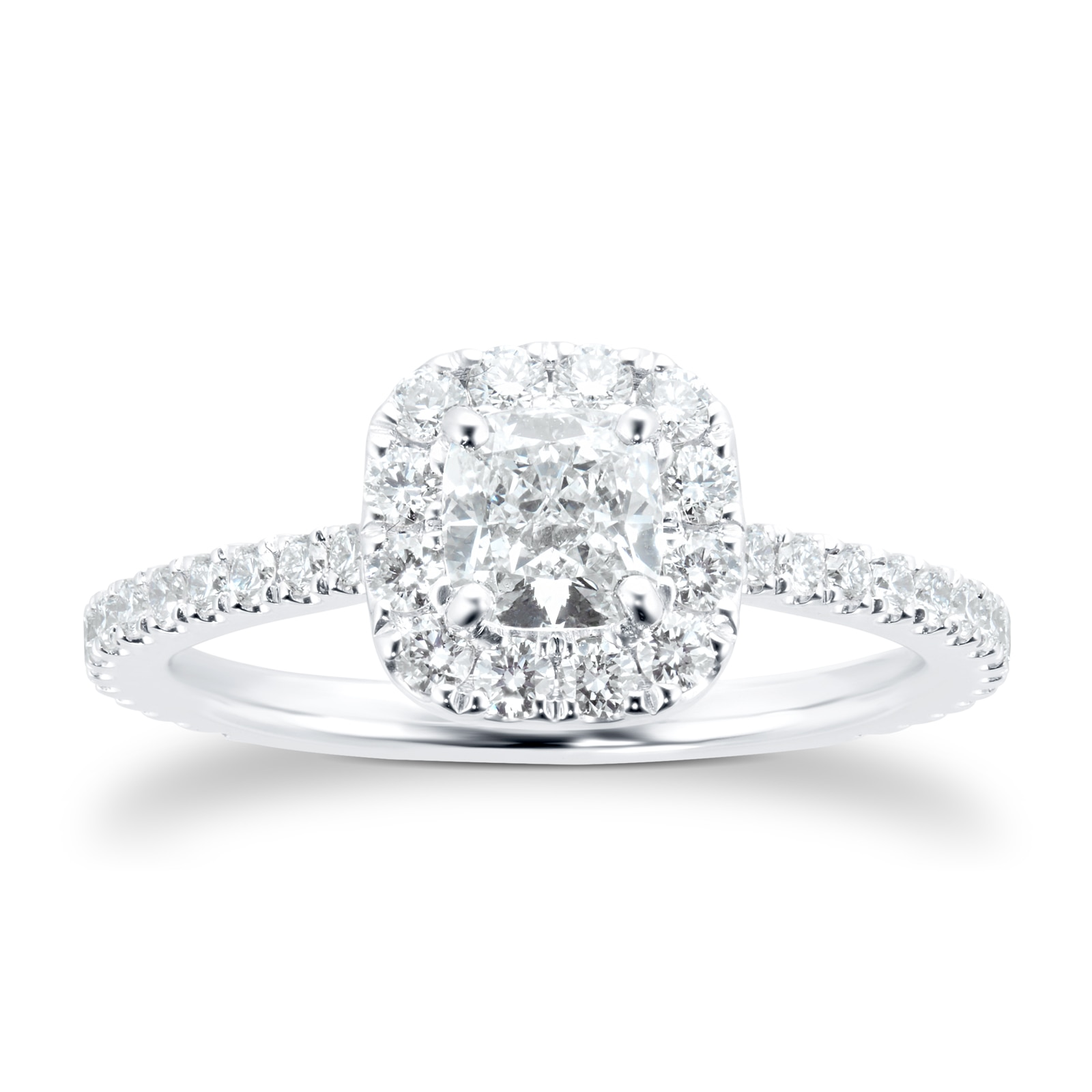 Mayors Platinum 0.95ct Cushion Halo Engagement Ring (H/VS1)