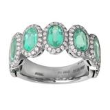 Mappin & Webb Platinum 0.53ct Diamond & Emerald Eternity Ring - Size M.5