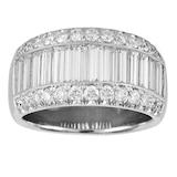 Mappin & Webb Platinum 2.15ct 3 Row Diamond Baguette Cut Eternity Ring - Size L