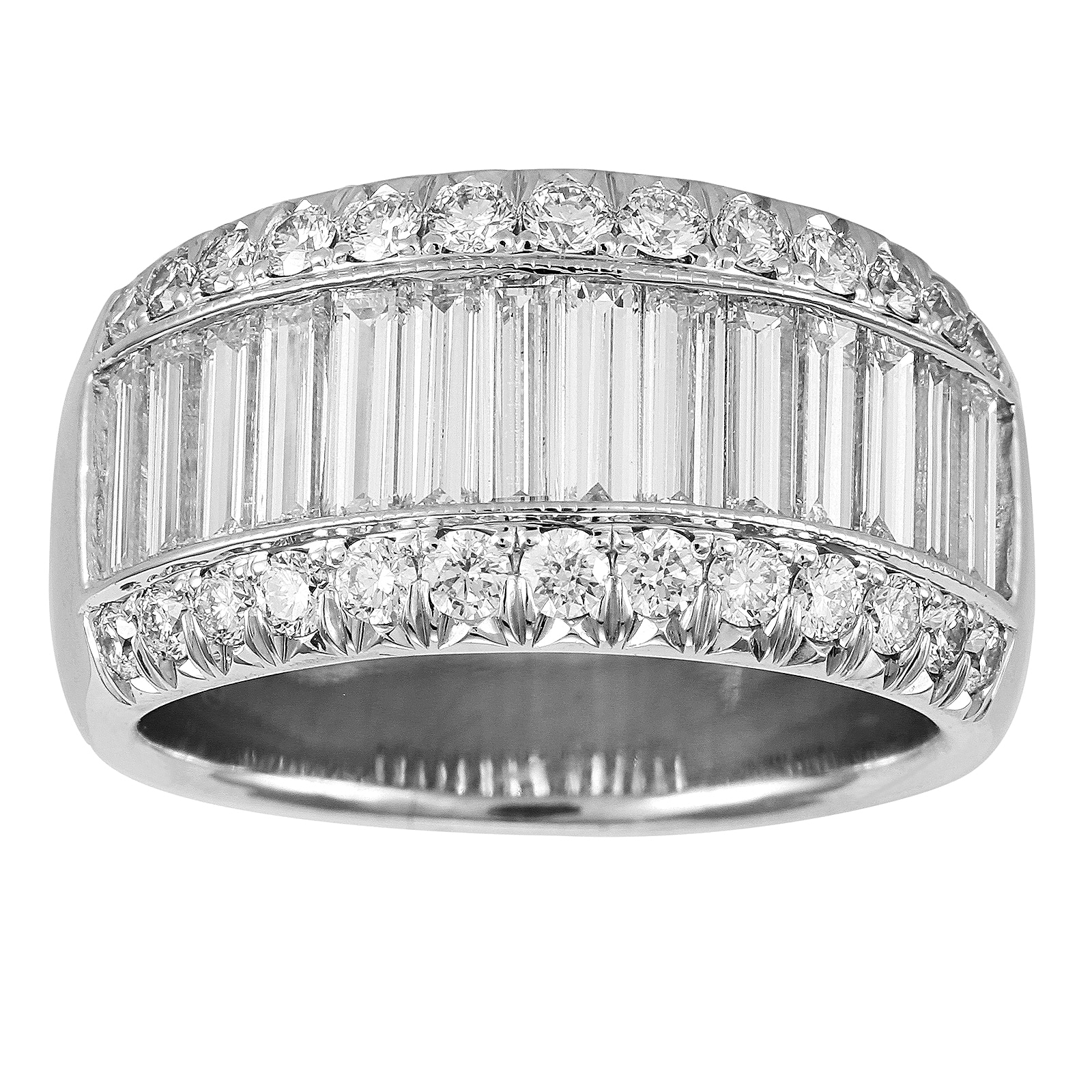Mappin Amp Webb Platinum 2 15ct 3 Row Diamond Baguette Cut Eternity Ring Size L 1845 010