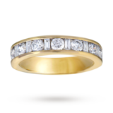 Goldsmiths Baguette And Brilliant Cut 1.00 Carat Total Weight Diamond Half Eternity Ring In 18 Carat Yellow Gold