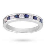 Goldsmiths Brilliant Cut Sapphire And Diamond Eternity Ring In 9 Carat White Gold