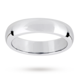 Mappin & Webb 5mm Flat Sided D Shape Gents Wedding Ring In 18 Carat White Gold