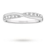 Goldsmiths Ladies 0.09 Total Carat Weight Diamond Set Kiss Wedding Ring In 18 Carat White Gold