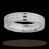 Goldsmiths Ladies Double Row Diamond Set Wedding Ring In 9 Carat White Gold