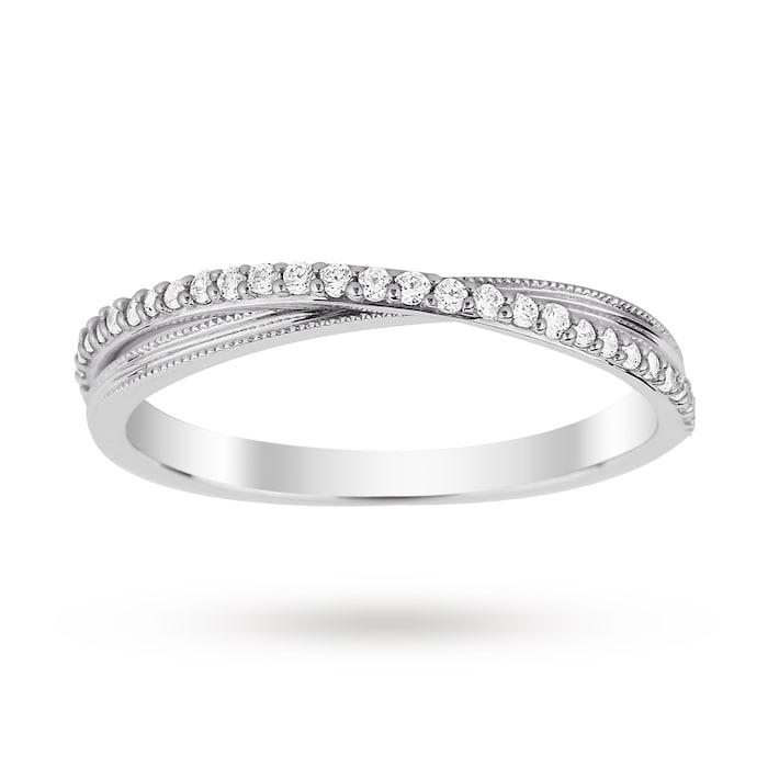 Goldsmiths 9ct White Gold 0.15 Total Carat Weight Diamond Wedding Band - Ring Size M