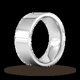 Goldsmiths 8mm Flat Court Heavy  Wedding Ring In 18 Carat White Gold