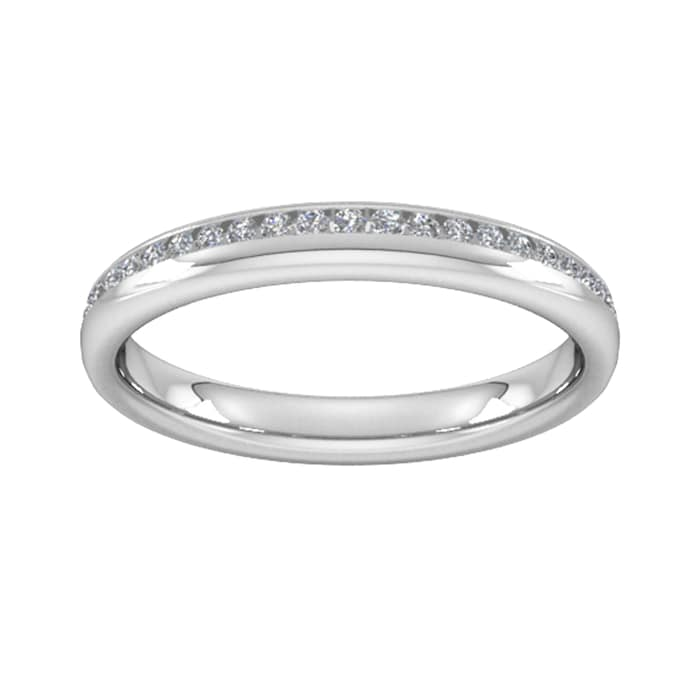 Goldsmiths 0.18 Carat Total Weight Brilliant Cut Channel Set With Matt Finish  Diamond Wedding Ring In 9 Carat White Gold - Ring Size J