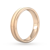 Goldsmiths 5mm Slight Court Heavy Matt Finish With Double Grooves Wedding Ring In 9 Carat Rose Gold